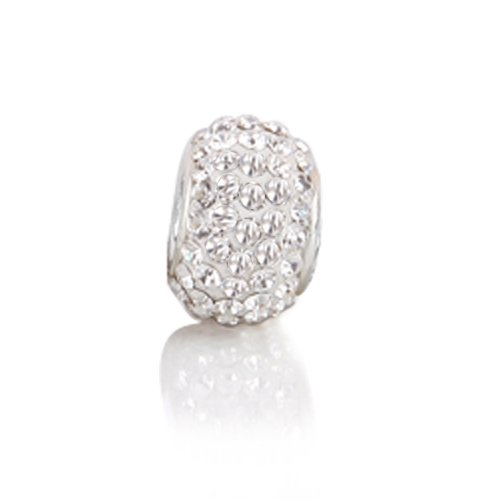 Bling Jewelry .925 Sterling Silver White Crystal Bead Pandora Pugster Troll Chamilia Biagi Bead Compatible