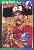 Andy McGaffigan Montreal Expos 1989 Donruss Autographed Hand Signed Trading Card.