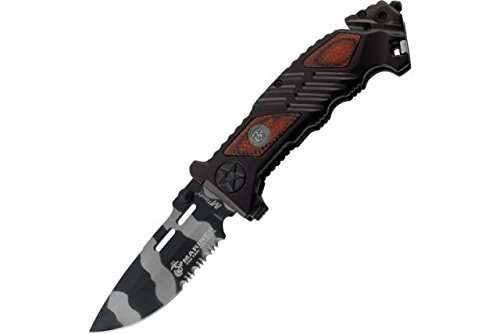 MTECH USA M-1023WU US Marines Urban Camouflage Blade Folding Knife, 5-Inch Closed Length, Lasered Brown Pakkawood Inlay Aluminum Handle