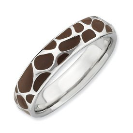 Genuine IceCarats Designer Jewelry Gift Sterling Silver Stackable Expressions Polished Enameled Animal Print Ring Size 8.00