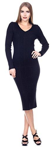 Stanzino Women's Long Sleeve Ribbed V neck Knit Extra Stretch Sweater Dress