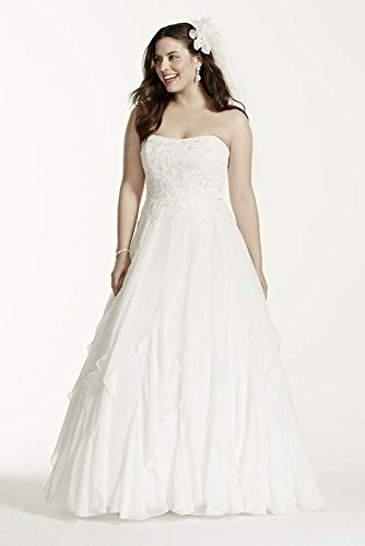 A-Line Chiffon Ruffled Plus Size Wedding Dress Style 9WG3647, Soft White, 26W