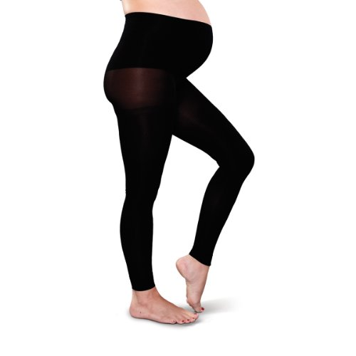 Preggers Maternity Footless Tights (Black- Medium)-gradient Compression Hosiery to Improve Circulation and Prevent Swelling