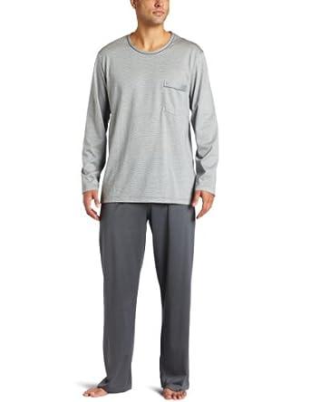 Hanro Mens Midnight Long Pajama Set,Mercury,Large