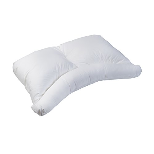 HealthSmart Side Sleeper Pillow with Curved Center Lobe for Firm Neck Support and Comfort, White