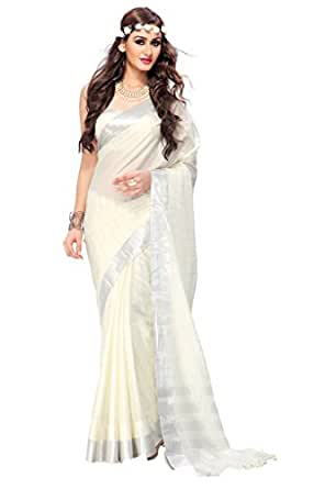 Ishin Cotton White Solid Saree available at Amazon for Rs.6099