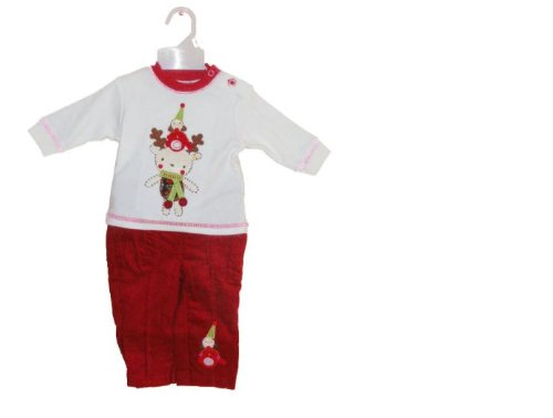 Christmas Cotton Outfit with Reindeer and Robin Embroidered Applique 9-12 Months