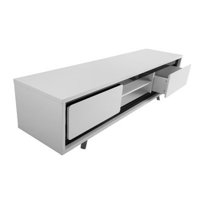 Ava TV Stand Leg Finish: Powder Coated White, Base Finish: White / Black