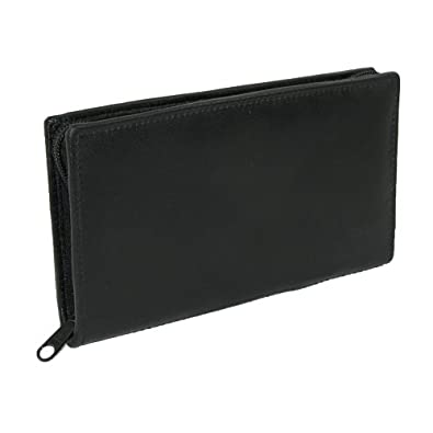 Paul & Taylor Unisex Leather Zippered Checkbook Cover and Wallet, Black