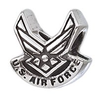 "Genuine Zable (TM) Product. 925 Sterling Silver ""US Air Force"" Wings Bead Charm. 100% Satisfaction Guaranteed. by Zable"