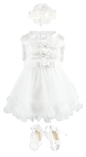 Bebetomy Baby Girls' Christening Baptism Gown Dress 5 Piece Deluxe Set 0-3 Months