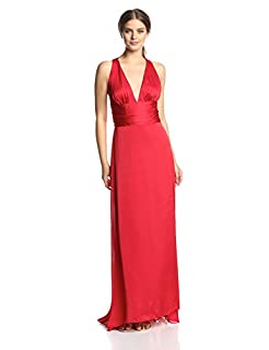 Ever Pretty Women's Trailing V-Neck Ruffles Cross Back Bridesmaid Dress, Red, 4