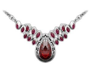 Retro Women's Queen's Style Natural Garnet Ruby Corundum Luxury 925 Sterling Silver Thai Silver Pendant Necklace for Party Global Limited Edition of Only 1
