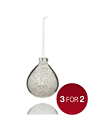 Metallic Teardrop Shaped Glass Christmas Bauble