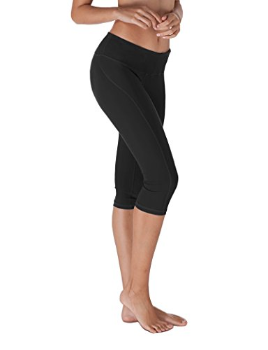 Yoga Reflex - Yoga Capris for Women - Workout Capri Pants With Hidden Pocket (XS-2XL) , Black , Small