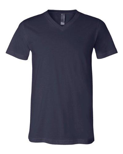 Bella + Canvas Unisex Jersey Short Sleeve V-Neck Tee, Navy, Large - 1