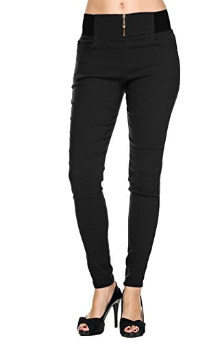 2LUV Women's Solid Color Zip Up Elastic Waist Dress Pants Black S/M (Skinny Dress Pants compare prices)