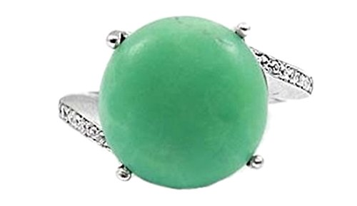 Sterling Silver Ring with Round Chrysoprase Stone - Size 12