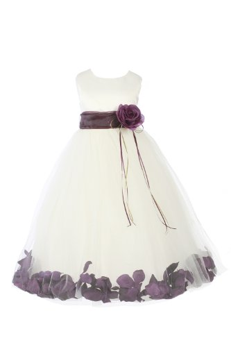 Jm Dreamline Ivory/Eggplant Girls Sleeveless Satin Flower Petal Dress With Sash-6