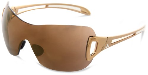 adidas Womens adilibria shield a382-6055 Shield Sunglasses,Gold & White Frame/LST Contrast Gold Lens,One Size