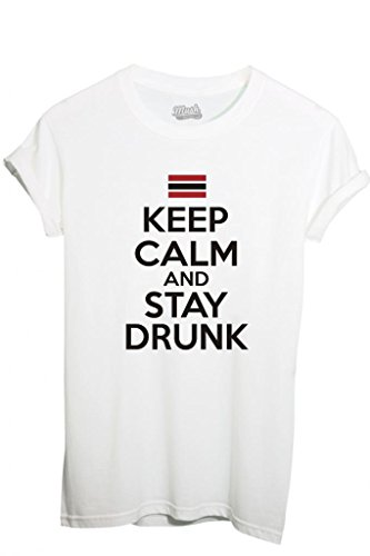 T-Shirt KEEP CALM AND STAY DRUNK - FUNNY by iMage Dress Your Style - Bambino-XL-BIANCA