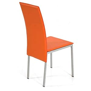 Effet cuir chaise salon salle a 39 manger de chaises orange for Chaise de salle a manger trackid sp 006
