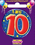 Dark Blue Stars - I am 10, Boys 10th Birthday Party / Birthday Badge [EF]