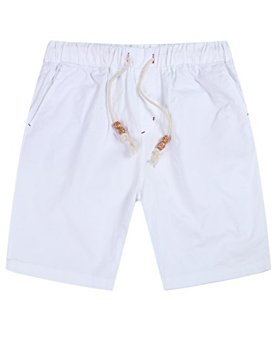 Lende Men's Linen Casual Classic Fit shorts Beach shorts FBA White Casual Shorts