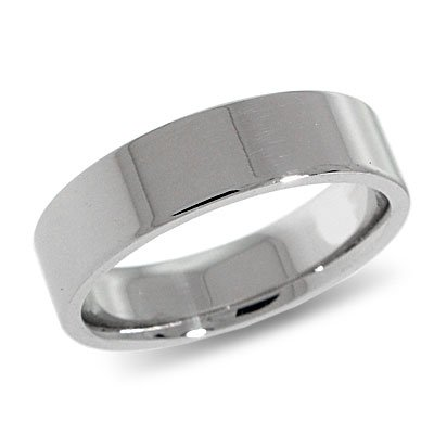 10K White Gold, Flat Comfort Fit Wedding Band 6MM (sz 14.5)