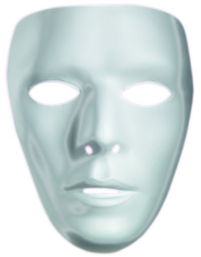 Adult's Male Blank White Halloween Costume Face Mask Facemask