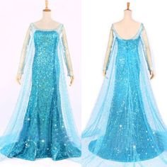 Frozen Princess Queen Elsa Adult Dress Cape Costume (Medium)