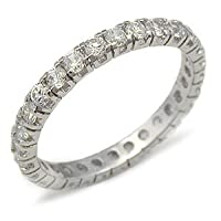 Cubic Zirconia Bands - Sterling Silver Easy to Match CZ Wedding Band