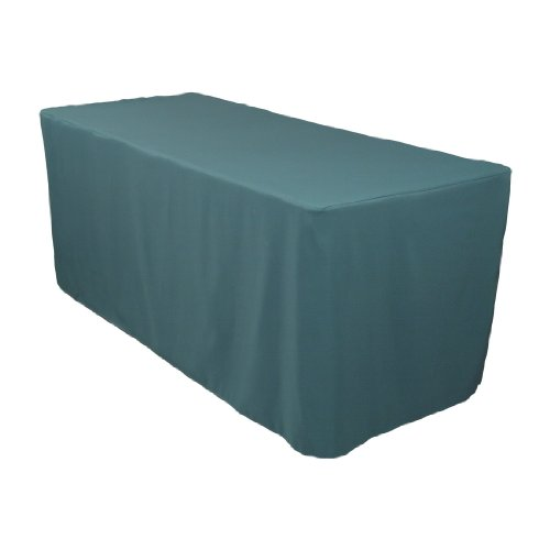 8 Foot Fitted Polyester Tablecloth Hunter Green