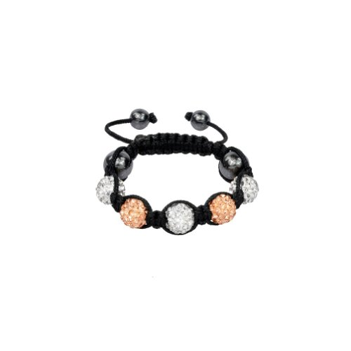 Zacoo Fashion Clay Crystal Ball Bracelet for Kids 5 Disco Balls Champagne & White Sold Individually 10mm