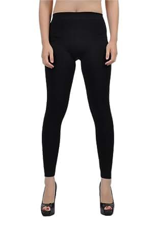 Soho Girls Junior's Fleece Inner Brush Full Length Leggings - One Size, Black