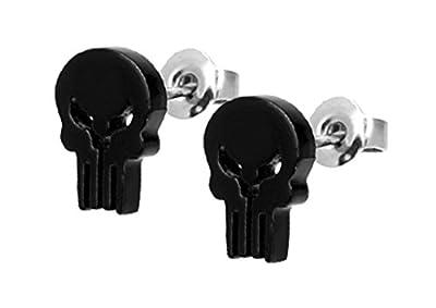 Marvel Comics The Punisher Skull Stud Earrings 316L 18G