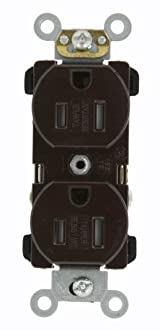 15 Amp, Narrow Body Duplex Receptacle, Straight Blade, Tamper Resistant, Commercial Grade, 125 Volt, Self Grounding, Brown/Black/Grey/Ivory/Light Almond/White, TBR15