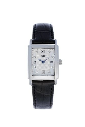 Rotary Ladies Watch, LS42829/01, Rectangular Stone Set White Dial and Black Leather Strap