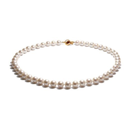 Blue Pearls - AA Cultured Pearl Necklace with solid Gold Clasp White BPS 1500 O