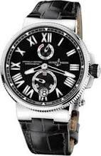 Ulysse Nardin Marine Chronometer Automatic Black Dial Black Leather Mens Watch 1183-122-42