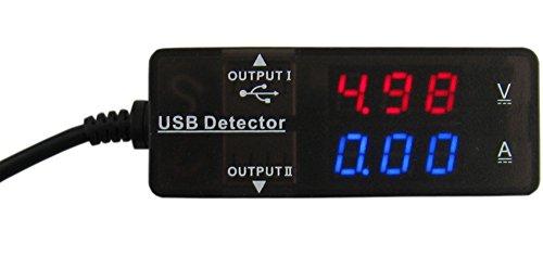 Yeeco Digital Multimeter LED Ammeter Voltmeter Dual Display 7 Modes USB 2.0 HUB 2 Ports for Fast Charging & USB Communication Charger Detector DC 3.2-15V 0-3A Red Blue Alignment Tester Mobile Power Panel Voltage Current Gauge Monitor
