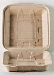 Bagasse 9X9X3 Clamshell To Go Container