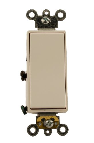 20 Amp, Decora Plus Rocker 3-Way AC Quiet Switch, 120/277 Volt, Commercial Grade, Back and Side Wired, Self Grounding, Brown/Black/Gray/Ivory/Red/Light Almond/White, 5623-2