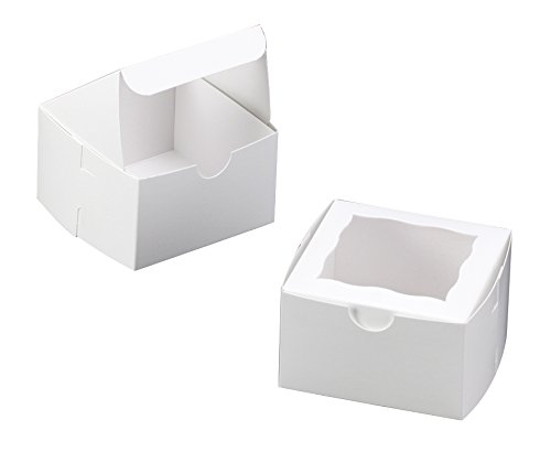 Bakery Box With Window 4x4x2.5 inch - 25 Pack - White - Paperboard Take Out Gift Boxes for Pastries, Cookies, Cupcakes, and more (4x4x2.5 inch, White) (Bakery Display Box compare prices)