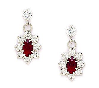 14ct White Gold January Birthstone Red3x5mm CZ Flower Drop Screwback Earrings - Measures 16x8mm