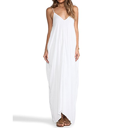 May&Maya Women's Low V-neck and Low V-back Maxi Dress (S, White)