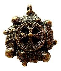 Wikingerkreuz Am Very Heavy Cult-pendant, 40 X 40 Mm, Two-faced Design, Antique Brass Plated