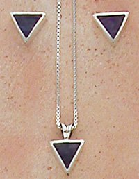 Southwestern Native American Navajo Triangular Earring and Pendant Set with Sugilite Inlay in Sterling Silver, tp200