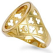 Jewelco London 9ct Solid gold Full sovereign clubs design coin mount Ring,Size U