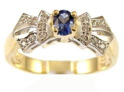 14k Yellow Gold White Rhodium, Classic Design Ring with Lab Created Oval Shape Navy BlueColored Stone